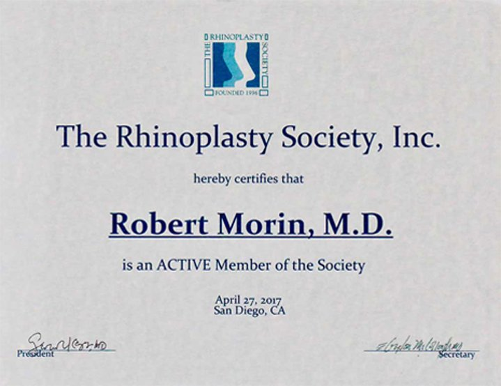 The Rhinoplasty Society,Inc - Robert Morin, M.D.